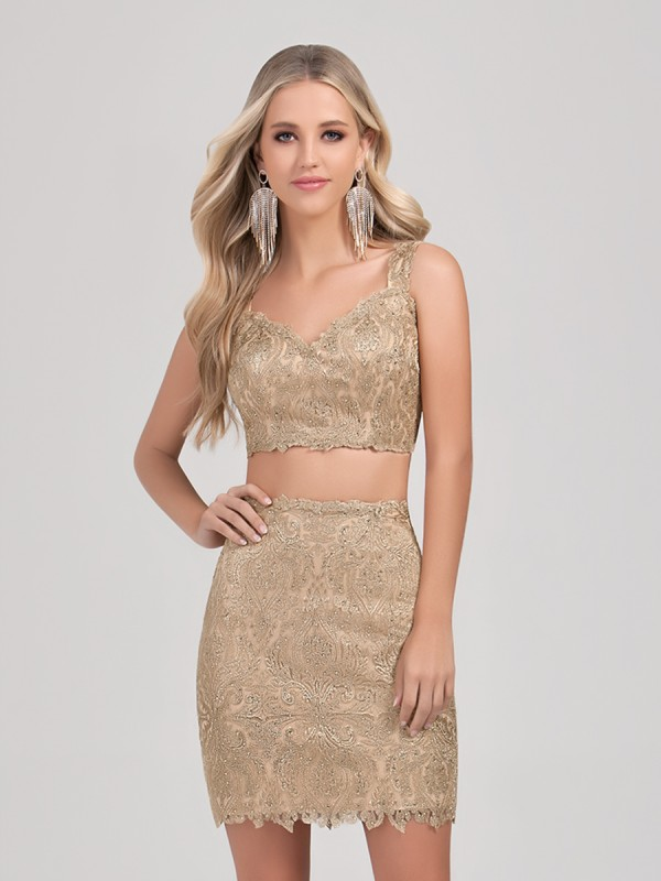 Val Stefani Cocktail 3373RK popular short metallic lace crop top two piece homecoming dress