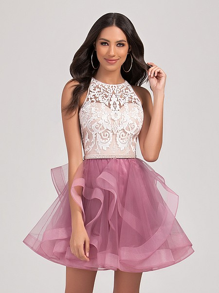 Val Stefani Cocktail 3374RE fun and girly short tulle A-line homecoming dress with pretty cascading skirt