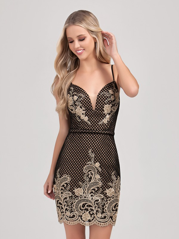 Val Stefani Cocktail 3375RD elegant short sheath net cocktail dress with gold lace accents