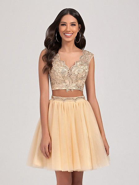 Val Stefani Cocktail 3376RD short two piece ball gown evening dress with lace cap sleeve crop top