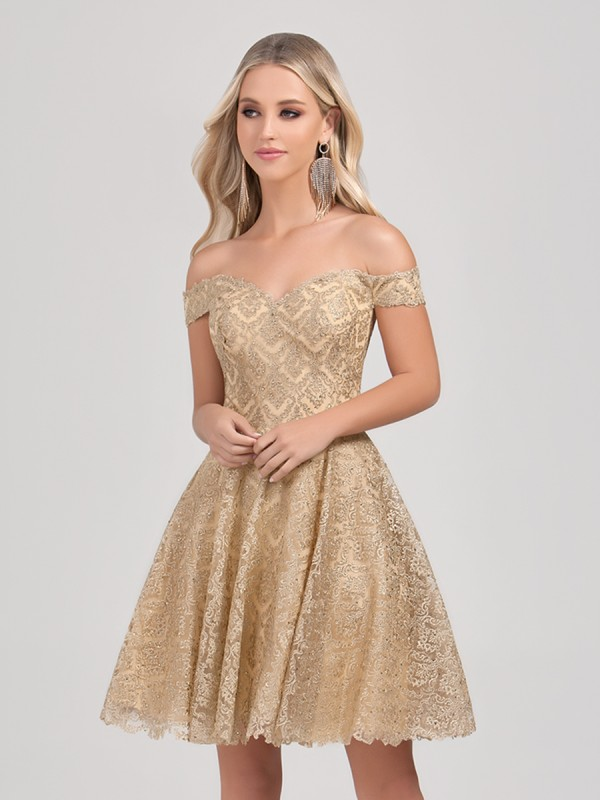 Val Stefani Cocktail 3379RK short metallic gold lace off-the-shoulder ball gown
