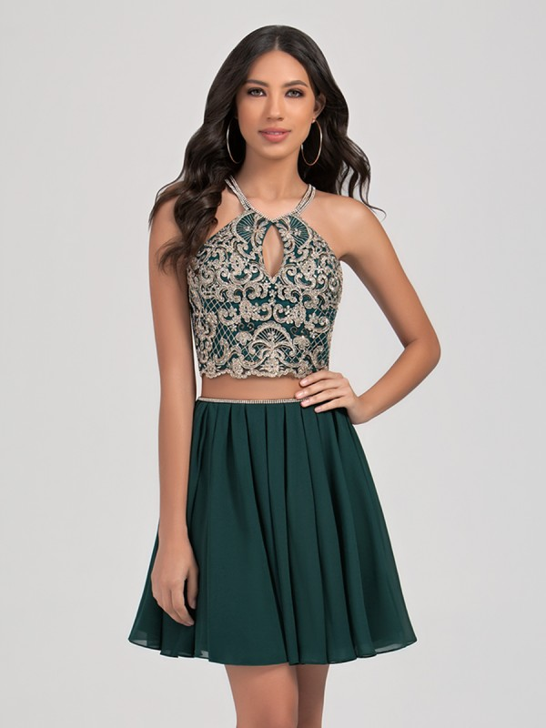Val Stefani Cocktail 3380RK two piece halter neck short chiffon A-line formal dress