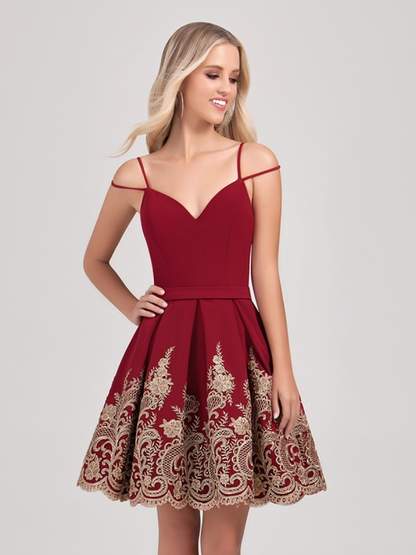 Val Stefani Cocktail 3384RD short satin semi-formal ball gown holiday dress with gold lace