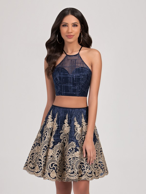 Val Stefani Cocktail 3386RD short lace two piece ball gown with halter top and sparkle net