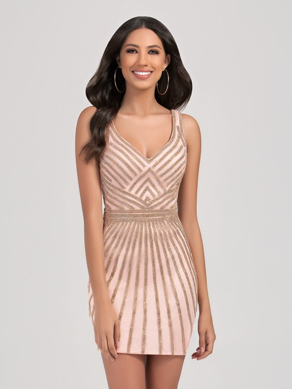 Val Stefani Cocktail 3387RK beaded short sheath semi-formal dress with flattering V-neck