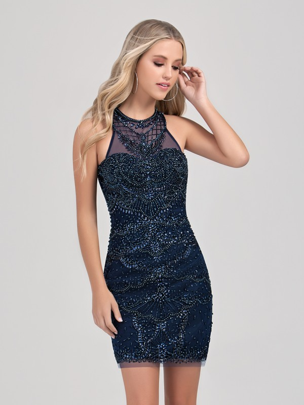 Val Stefani Cocktail 3392RB glamorous all beaded short sheath homecoming dress with flattering jewel neck