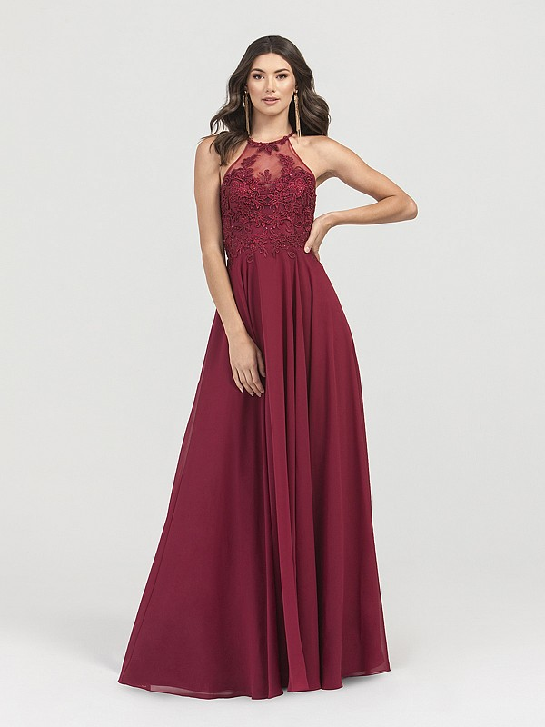 ValStefani 3402RG wine chiffon A-line long formal dress