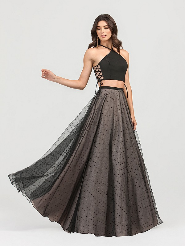 ValStefani 3414RY two piece dot net and satin ball gown in black and nude