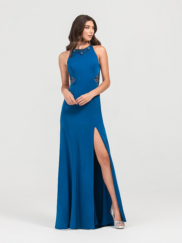 ValStefani 3417RG peacock stretch satin trumpet long gown with beaded halter neck