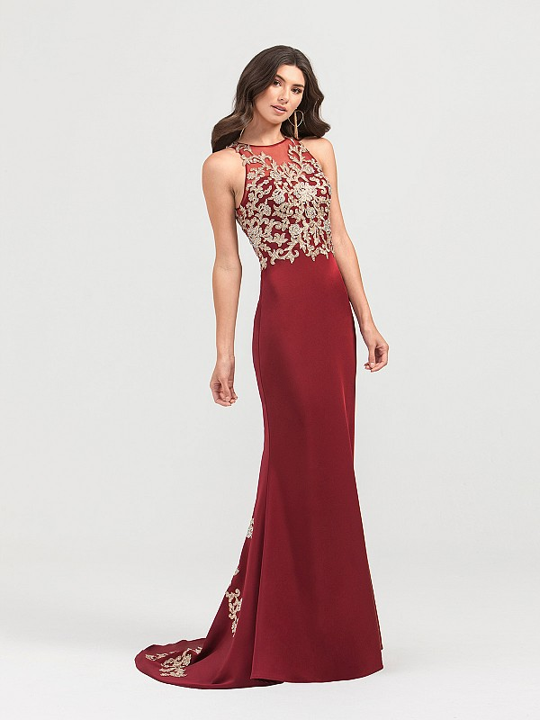 ValStefani 3422RG sleeveless stretch satin mermaid gown in wine with gold lace