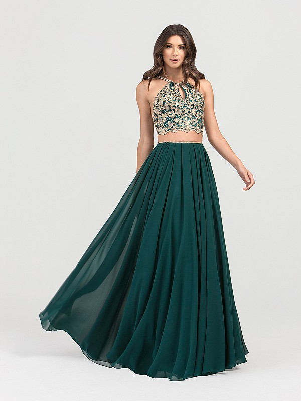 ValStefani 3430RK two piece lace halter and chiffon skirt prom dress in emerald
