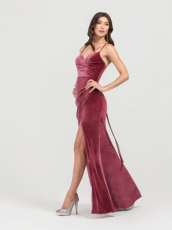 ValStefani 3440RW rose colored long velvet prom dress with sweeetheart neckline