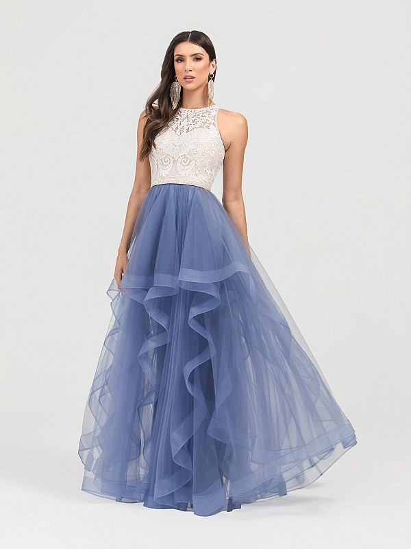 ValStefani 3454RE jewel neck lace and tulle A-line with ruffle skirt in sky blue and nude