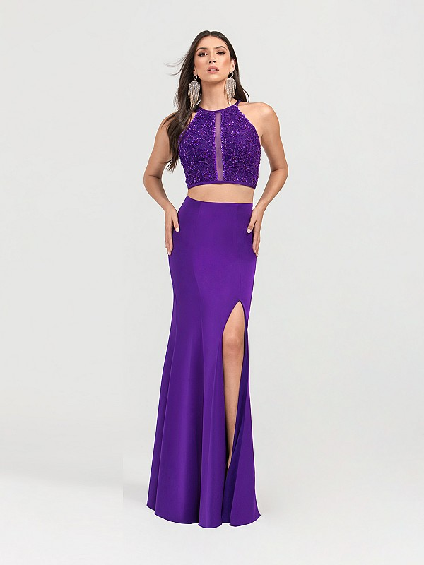 ValStefani 3457RB dark purple jewel neck two piece mermaid dress with front slit