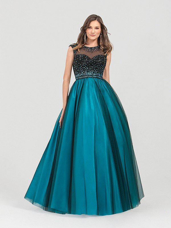 ValStefani 3480RE black and peacock tulle ball gown with cap sleeves and beading