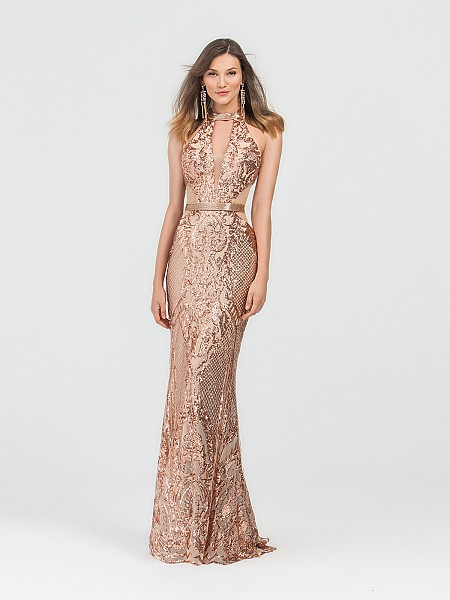 ValStefani 3492RD gold and nude halter neck sequin trumpet dress with illusion inset
