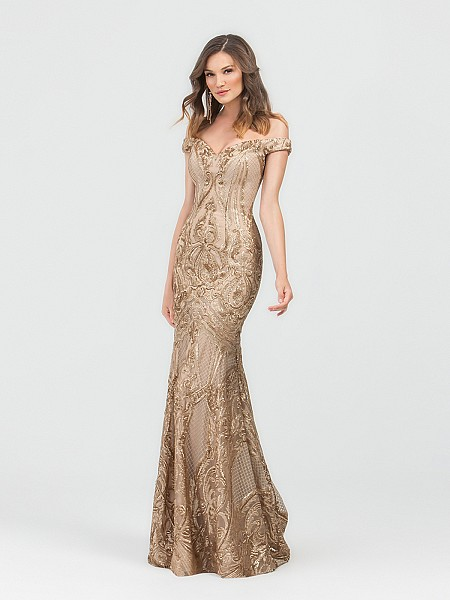 ValStefani 3497RB gold off-the-shoulder sequin print mermaid gown with drop waist