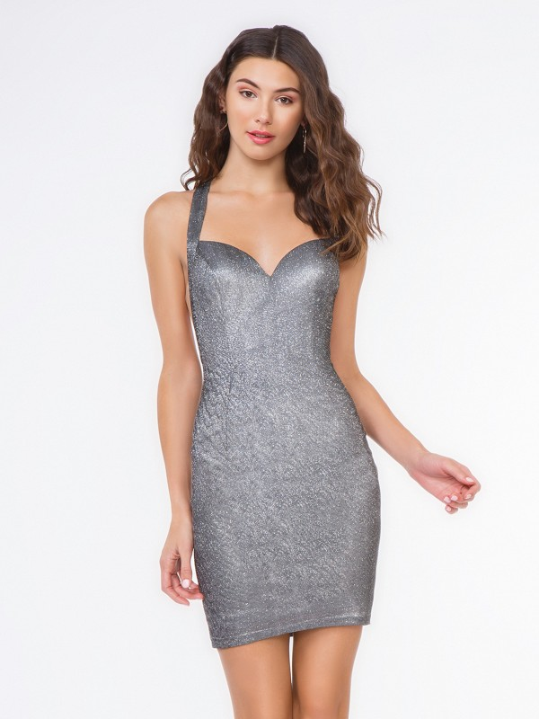 Style 3651RE iridescent charcoal short sheath cocktail dress with V-neck
