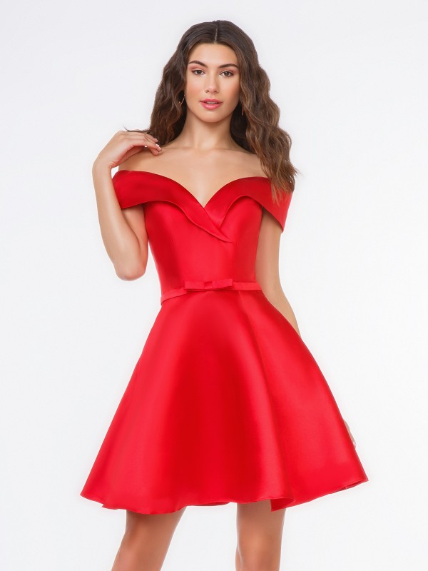 Style 3653RG vibrant red off-the-shoulder short Mikado A-line cocktail dress with knife pleats