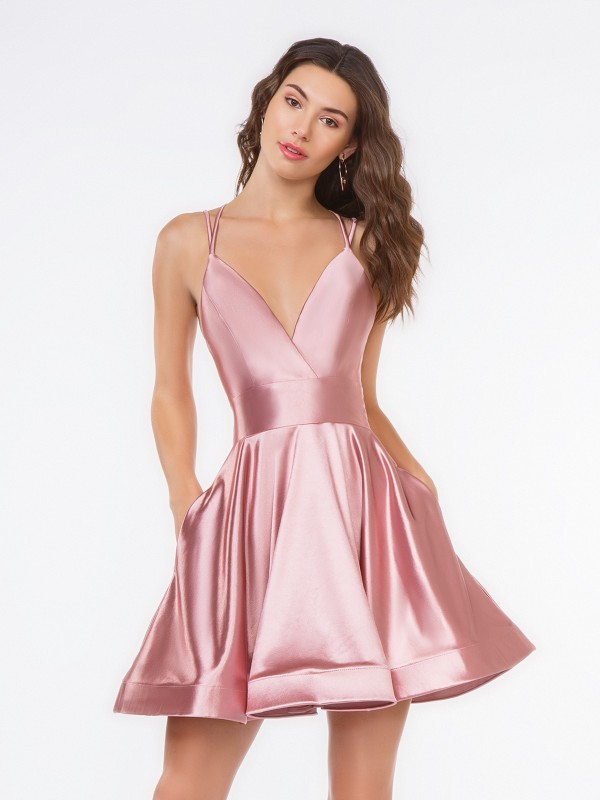 Style 3654RA simple dusty pink deep surplice V-neck stretch charmeuse short A-line cocktail dress
