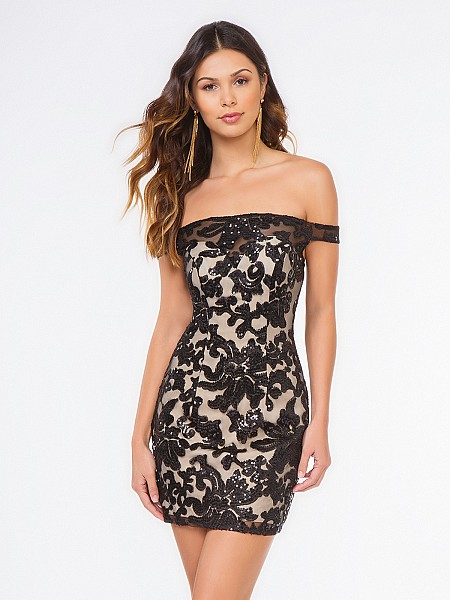 Style 3659RA sexy short sheath off-the-shoulder cocktail dress in black and nude sequin fabric