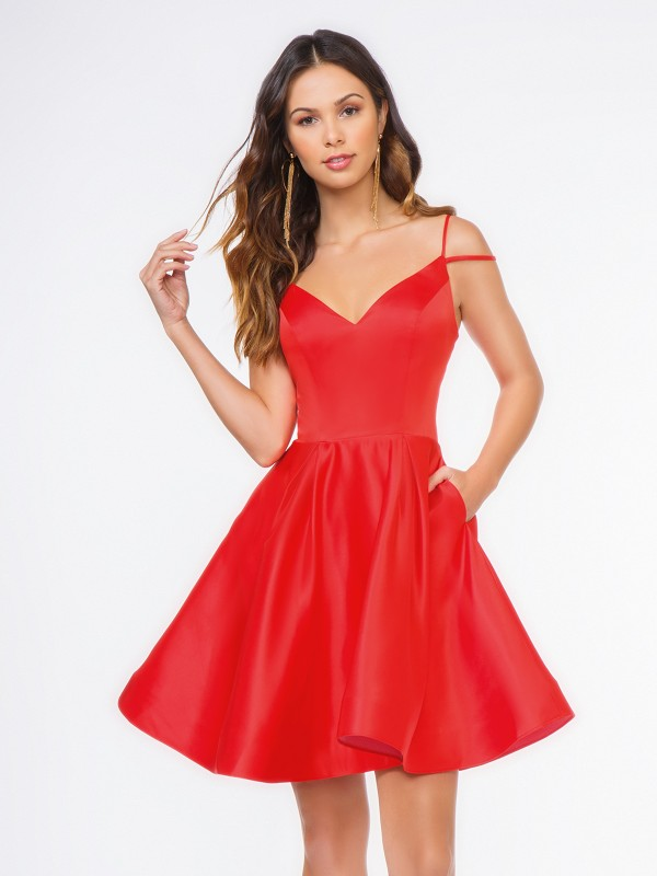 Style 3660RW bright red short satin A-line dress with box pleats and V-neck and thin straps
