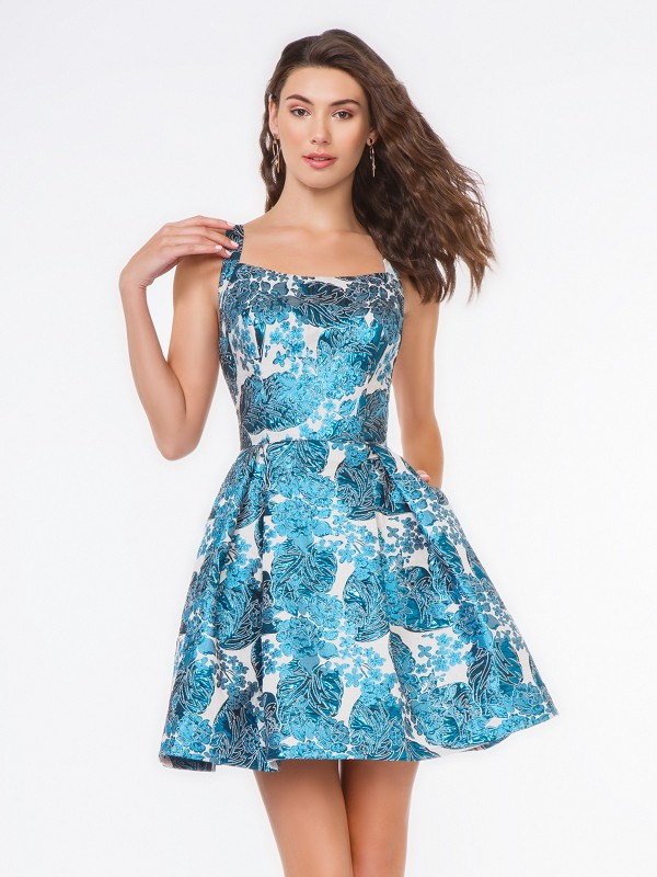 Style 3661RE peacock print jacquard fabric short A-line cocktail dress with box pleats and side pockets