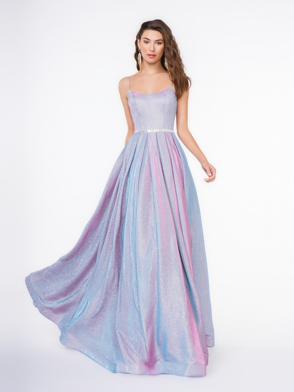 Style 3663RG scoop neck A-line floor length dress with beaded band at natural waist in lilac sparkle jersey