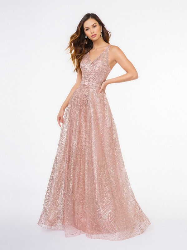 Style 3667RG dusty pink glitter print A-line floor length gown with V-neck and natural waist