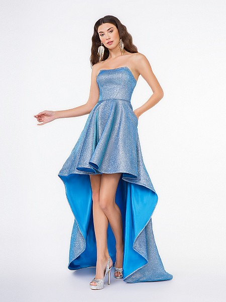 Style 3668RG peacock metallic satin A-line dress with high-low hem and side pockets