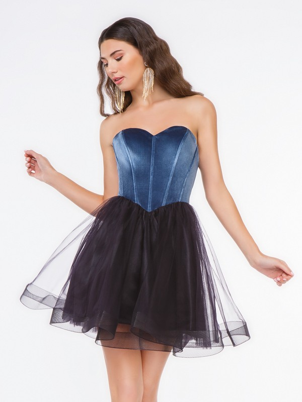Style 3669RW strapless sweetheart steel blue velvet bodice with black net short ball gown