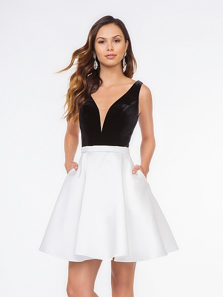 Style 3672RW black velvet sweetheart bodice with white Mikado fabric short A-line dress with side pockets