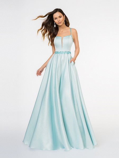 Style 3674RG aqua scoop neck with illusion inset floor length metallic Mikado A-line with side pockets