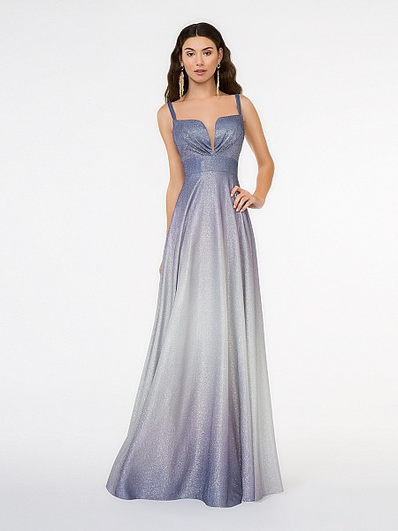 Style 3675RW sweetheart with illusion inset floor length ombre lilac iridescent satin A-line floor length gown