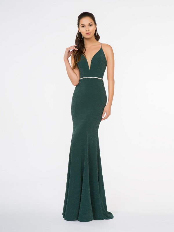 Style 3679RA forest green floor length metallic jersey mermaid gown with deep sweetheart neckline