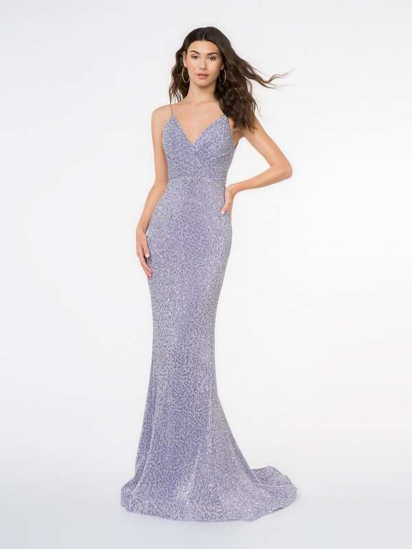 Style 3681RG lilac floor length stretch sequin fabric mermaid gown with surplice V-neck and thin straps