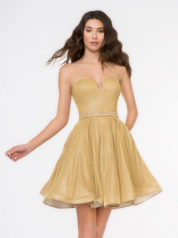 Style 3682RK gold iridescent jersey short A-line cocktail dress with strapless sweetheart neckline