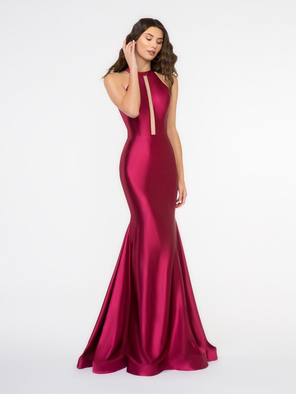 Style 3684RA sleek wine halter neck with illusion inset stretch charmeuse mermaid formal gown