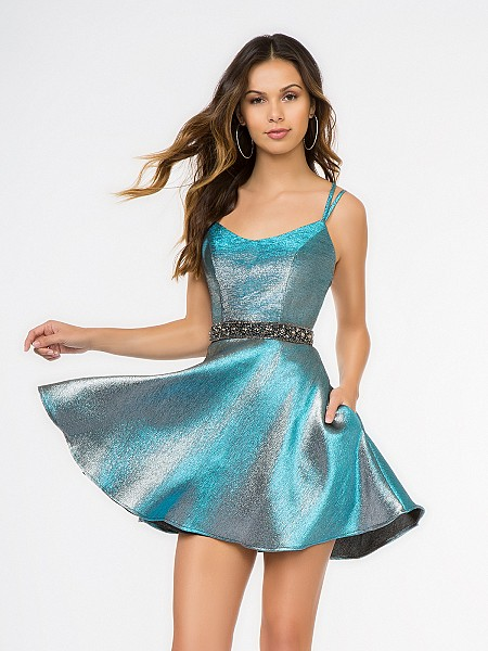 Style 3687RK blue iridescent satin short A-line cocktail dress with scoop neck and side pockets