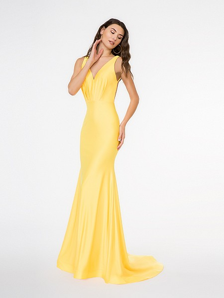 Style 3688RA sleeveless deep V-neck mermaid gown in sunshine yellow shiny jersey