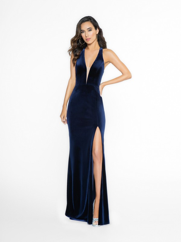 ValStefani 3702RG sexy navy prom dress with halter neckline and illusion inset