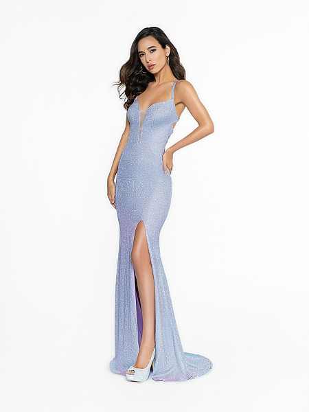 ValStefani 3704RY shimmering lilac dress with deep sweetheart neckline and illusion inset