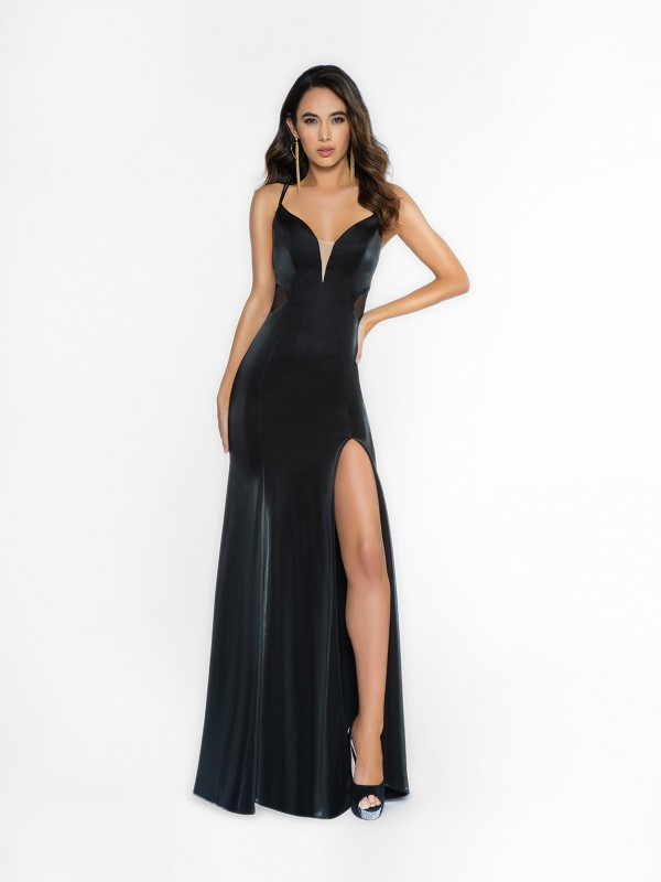 ValStefani 3707RY alluring black dress with deep sweetheart neckline and illusion inset