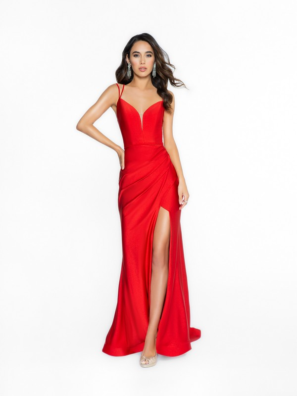 ValStefani 3708RL fashionable red prom dress with sheath with slit