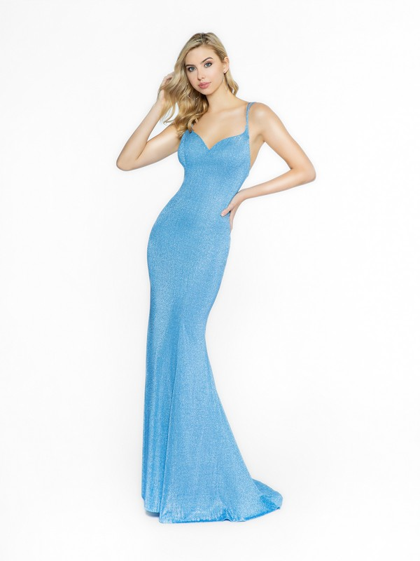 ValStefani 3711RI blue sparkling dress with sweetheart neckline