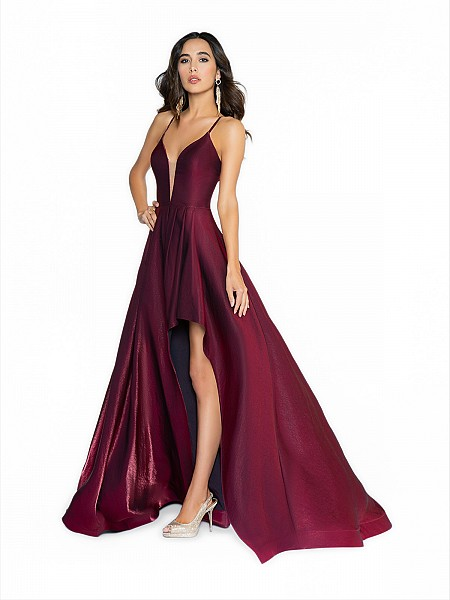 ValStefani 3717RY wine prom dress with deep sweetheart neckline and illusion inset