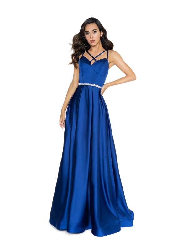ValStefani 3720RY sleek soft satin navy a-line prom dress with box pleats