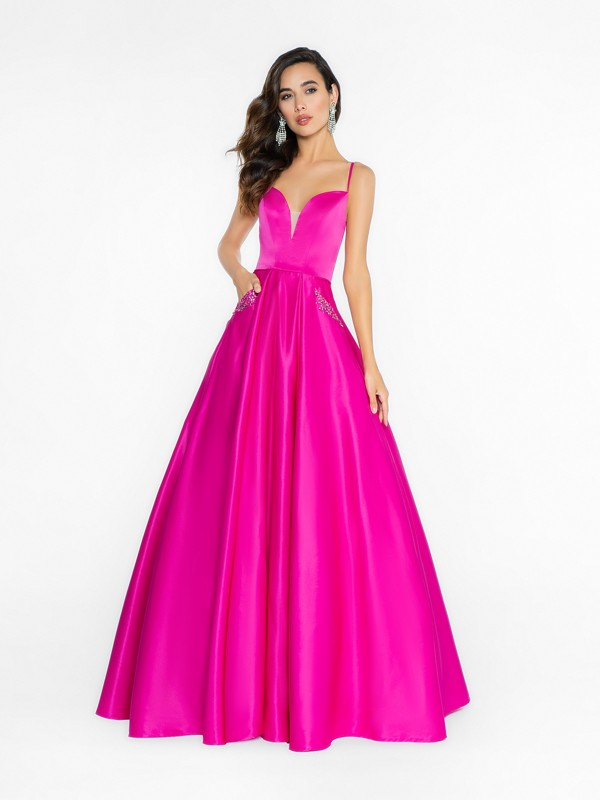ValStefani 3721RA fuchsia ball gown with deep sweetheart neckline and illusion inset