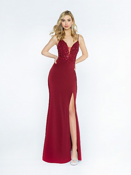 ValStefani 3722RG wine dress made with stretch satin and re-embroidered lace appliques