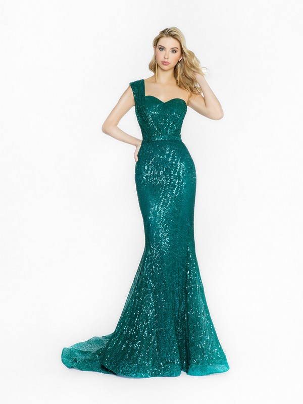 ValStefani 3723RG glistening emerald dress with one shoulder strap